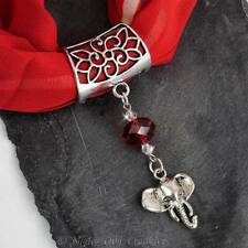 Handcrafted Scarf Ring, Clip, Silver Tone ELEPHANT Pendant, Red Crystal Beading