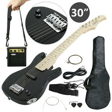 """30"""" mini electric hardwood guitar with 5W AMP + Case for Beginners Kids Black"""