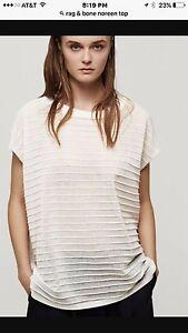 "NWT Size S Rag & Bone White Sleeveless Sheer Sweater Long ""Noreen"" Top"