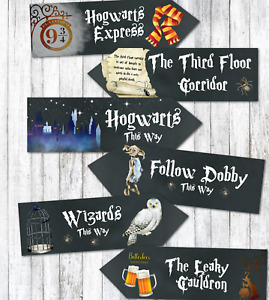 6 Black Harry Potter Hogwarts Wizards Party Decoration Arrow Signs