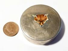 Rare Antique 1926 Silver & Enamel FOX HEAD Trinket Cuff Link DENNISON Box #T652G