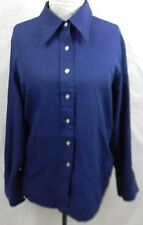 Vintage Sears Womens 20 Blouse Top Button Front Navy Blue 100% Polyester LongSle