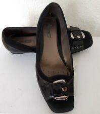 chaussure ballerine noir Geox mini talon compensé cuir et daim boucle argent 37