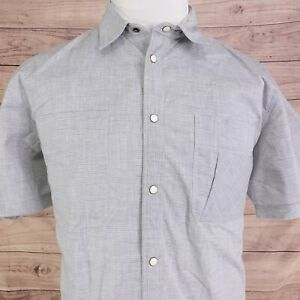 BILLY REID SLIM FIT SHORT SLEEVE GRAY PEARL SNAP BUTTON UP SHIRT MENS SIZE XL