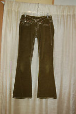 True Religion Olive Green Corduroy Flare Pants Size 27