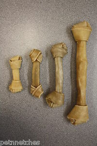 QUALITY NATURAL RAWHIDE/HIDE KNOTTED DOG BONES CHEWS/TREATS VARIOUS SIZES NEW!
