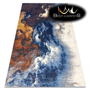"""Amazing Modern Rug """"SOFT"""" abstraction, waves BLUE / GREY / COOPER High Quality"""