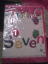 Age 7 seven Happy Birthday greetings card - girl - balloons