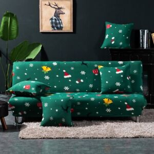 Christmas Armless Futon Cover Xmas Decoration Couch Sofa Bed Slipcover Protector