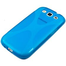 Silikon TPU Case X Design Handy Tasche Hülle Bumper Samsung Galaxy S3 i9300 Blau