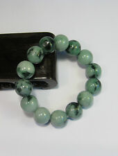 Natural Grade A  dark green/white  jade 10 mm beaded stretchy bracele(14 beads)