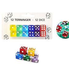 12 Playing Dice 6 Sided Gaming Fun Toy Bulk Board Game Transparent