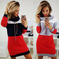 New Women Autumn Winter Long Sleeve Turtle Neck Bodycon Party Sweater Mini Dress