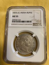 British India 1835 William Rupee Ngc Graded Aunc
