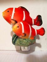 Night Light Ceramic Clown Fish,Nursery or Bathroom