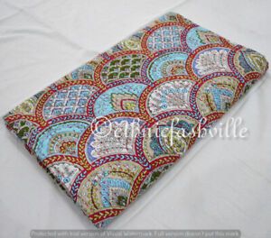 New Indien Handmade Traditional Cotton Twin Kantha Quilt Throw Bedspread Blanket