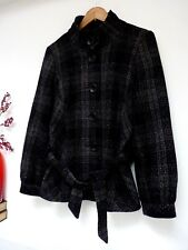 Ladies Lovely Debenhams Black Mix Sparkly Belted Hip Length Coat Size 12, Vgc