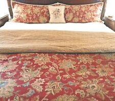 "Ralph Lauren King Pillow Shams Red Floral ""Annabelle"" Cotton Jute Trim -  A Pair"
