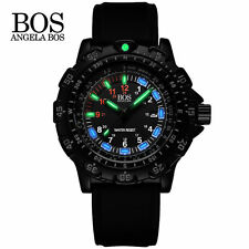 ANGELA BOS Military Super Luminous Watch Multifunction Rotary Dial Compass Watch