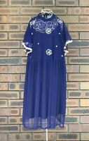 Asos Womens Size 20 Navy Overlay Dress Mesh Floral Embroidered Flutter Sleeve