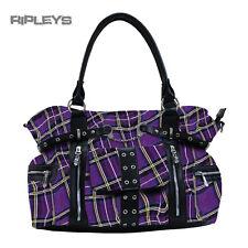Banned clothing punk large tartan menottes sac a main sac gothique violet