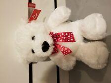 Aurora World LTD White Teddy Bear Plush Stuffed Animal Red Ribbon Bow Hearts