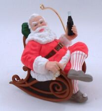 1997 Coca Cola Santa Claus Relaxing Rocking Chair w/ Slippers Christmas Ornament