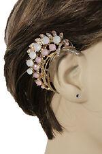 Women Gold Metal Cuff Fashion Jewelry One Side Earring Pink Cream Leaf Flowers