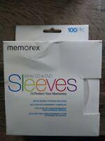 100 New Memorex White CD~DVD  Sleeves Window Flap~SHIPSN24