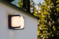 IP54 Square Cube Dark Grey & Opal LED Wall Light Outdoor Garden Wall Porch Patio