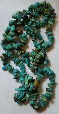 "TURQUIOSE SKY BLUE BROWN GREEN 32"" CHIP STONE STRAND NECKLACE 57.5g BEAUTIFUL"