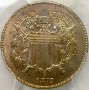1872 DDO TWO CENT PIECE EXTREMELY RARE DOUBLE DIE PCGS MINT STATE 63 UNC DETAILS