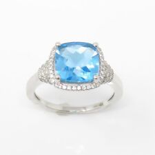14k Gold White Gold Blue Topaz Diamond Ring