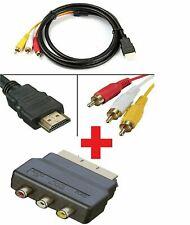 Hdmi a 3 RCA de vídeo Full HD 1080P AV SCART Compuesto Convertidor Adaptador vendedor del Reino Unido