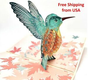 3D Pop Up Humming Bird Greeting Card, Birthday, Father's Day, Anniversary, Love