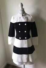 Lilli Ann Vintage Dress Coat Black White Size S/M Buttons Color Block Stripes