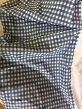 """Croscill Queen size pleated bed skirt dust ruffle blue white check 13-14""""drop"""