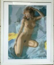CONTEMPORARY PASTEL PAINTING NUDE REDHEAD YOUNG WOMAN RECLINING FRAMED SIGNED