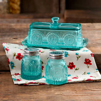 PIONEER WOMAN Turquoise Glass Butter Dish Salt and Pepper Shaker Gift Set Decor
