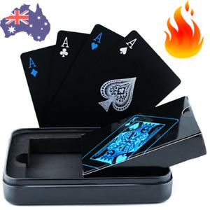 🔥 BLACK POKER Playing CARDS Waterproof PVC Magic Plastic Casino Game Gold 54pcs