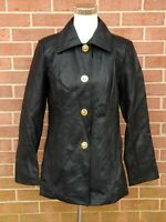 Women's Dennis Basso Faux Leather Jacket Turn Key Closure Black Size XS