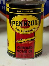 Old Pennzoil Outboard FULL Motor Oil Quart Can Marine w Boat Graphics Nice