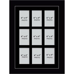 """Large multi picture photo aperture frame 6"""" x 4"""" inches size with 9 openings"""