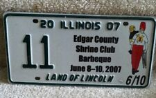 Illinois Specialty License Plate 2007 Edgar County Shrine Club Barbeque  #11
