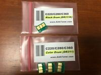 4 Drum Chip (BCMY) for Konica Minolta Bizhub C220, C280, C360 Printer Refill