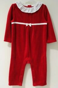 New With Tags Janie and Jack Holiday Concert Velour Romper Girl's Size 6-12M
