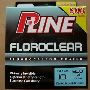 2x P-Line Floroclear Fluorocarbon Coated Mono 600YD 10Lb Clear Line