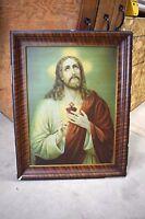 """+ Older Framed Print of """"Jesus the Sacred Heart"""" on metal + (#446) + chalice co."""
