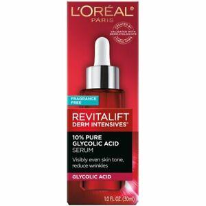 L'Oreal Paris Derm Intensives 10% Pure Glycolic Acid Face Serum, 1 oz.