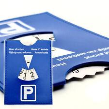 Parkscheibe Auto Parkuhr KFZ Kunstleder Leder Optik blau mehrsprachig EU-Norm